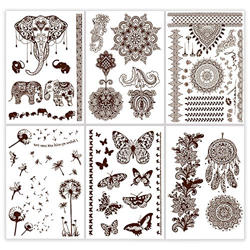 Gilded Girl Henna Tattoos (6 Sheets) Mandala Mehndi Temporary Brown Tattoo Designs