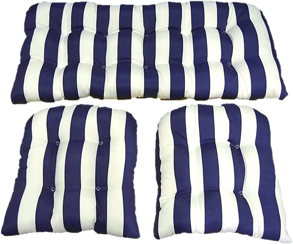 Resort Spa Home Decor 3 Piece Wicker Cushion Set – Navy Blue and White Stripe Indoor Outdoor Fabric Cushion for Wicker Loveseat Settee 2 Matching Chair Cushions