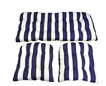 3 Piece Wicker Cushion Set   Navy Blue And White Stripe Indoor / Outdoor  Fabric Cushion Part 71