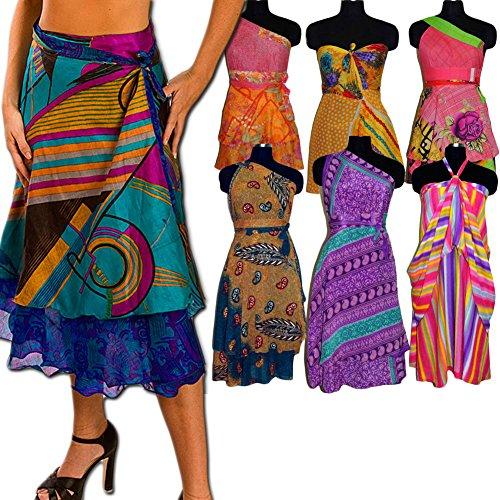 36 PC Wholesale Lot Magic Wrap Printed Reversible Two Layer Medium Silk Sari Skirt