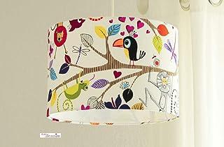 Kinderzimmerlampe mit Tieren und Vögeln aus Baumwollstoff