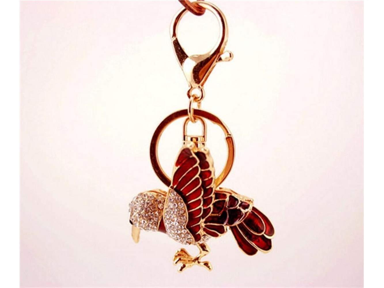 Car Keychain, Shiny Rhinestone Flying Bird Keychain Animal Shape Key Trinket Car Bag Key Holder Decorations(Red) for Gift