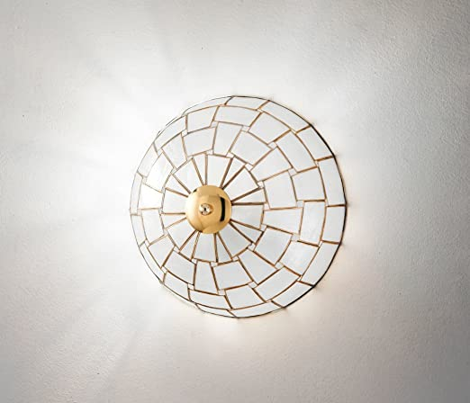 Lámpara plafón en nácar - Medidas Diámetro 30 cm - 1 x E27 ...