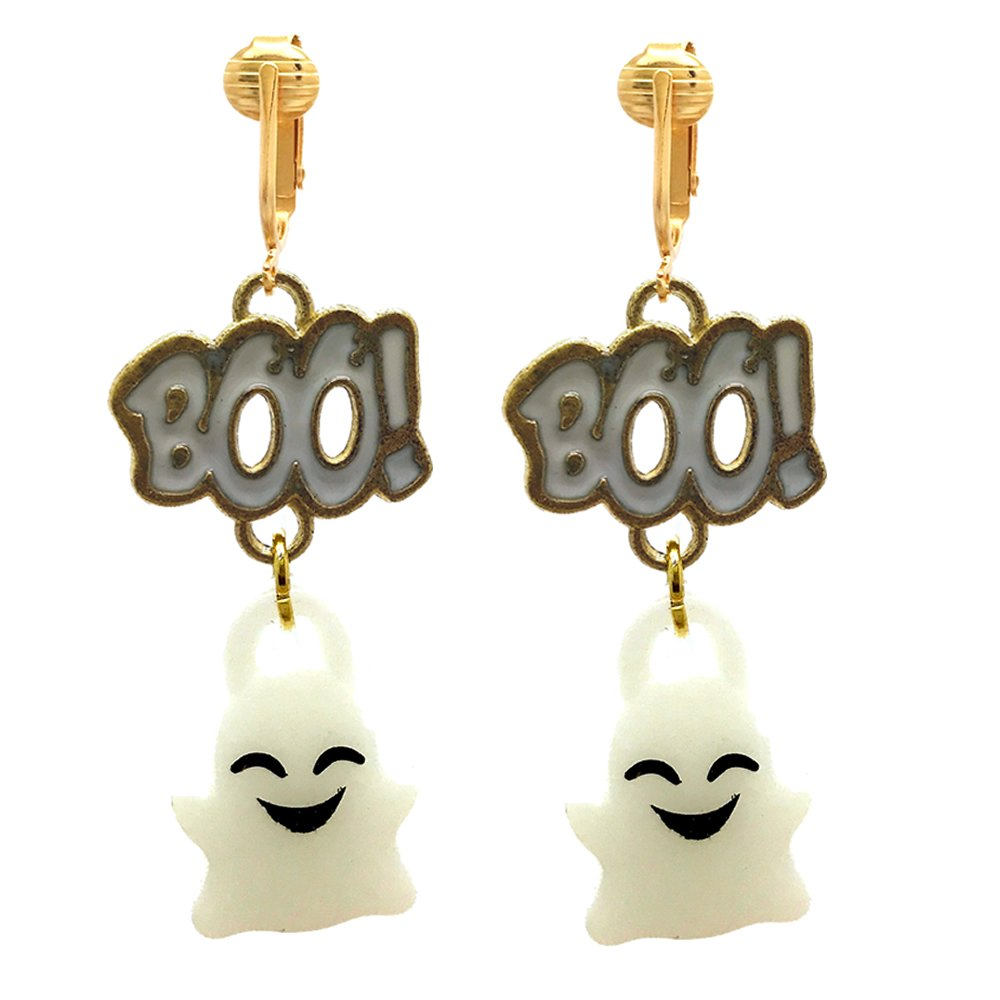 Fun Bright Halloween Clip On Earrings Ladies & Girls-Ghosts, Candy Corn, Bats, Witches, Pumpkins, Skulls (Boo! Ghosts)