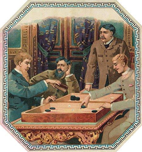 Men About to Play Backgammon Cigar Outer Box Label (16x24 SIGNED Print Master Giclee Print w/ Certificate of Authenticity - Wall Decor Travel Poster) ()