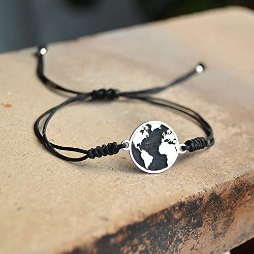Handmade 925 Sterling Silver World Map Airplane Bracelet