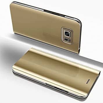 Surakey Funda Galaxy S7 Edge Clear View Standing Cover Funda View Flip Wallet Make Up Mirror Funda Carcasa Caja del Móvil Case Ultra Thin Book Case ...