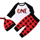 Babys 1st Birthday Outfits Long Sleeve T-Shirt With Red Plaid Pant and Hat Christmas Costume