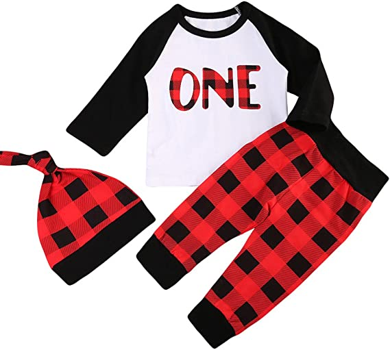 Karuedoo Christmas Babys 1st Birthday Outfits T-Shirt with Red Plaid Pant 2PCS Outfit Set