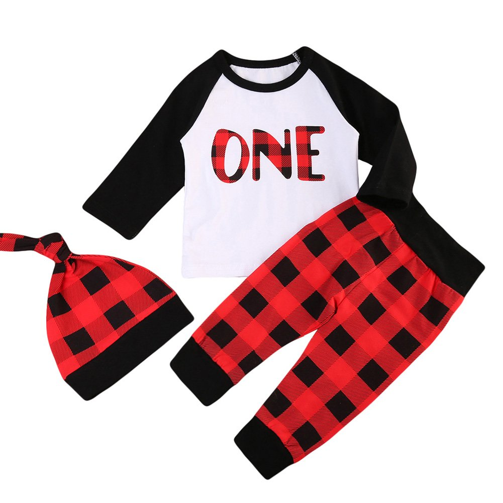 ONE'S Babys 1st Birthday Outfits Long Sleeve T-Shirt with Red Plaid Pant and Hat Christmas Costume