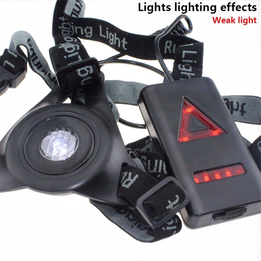 Bicicleta Outdoor LED l/ámpara de cabeza faro frontal luz Running l/ámpara Headlight Headlamp Chest Night Light 3/niveles de iluminaci/ón con extra/íble Band USB recargable para pesca caza camping