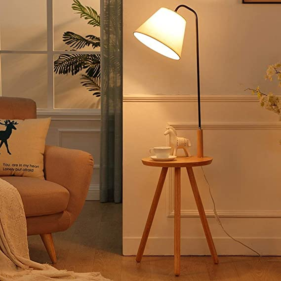 Amazon.com: CWJ Floor Lamp-Led Solid Wood Floor Lamp Living ...