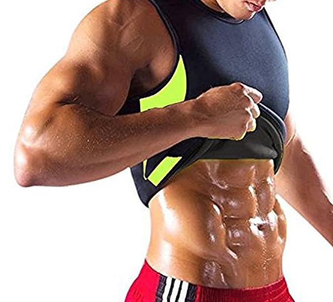 c0e2eb3625c NINGMI Mens Slimming Vest Hot Sweat Tummy Body Shaper Waist Trainer Vest  Neoprene Sauna Workout Shirt for Weight Loss  Amazon.co.uk  Clothing