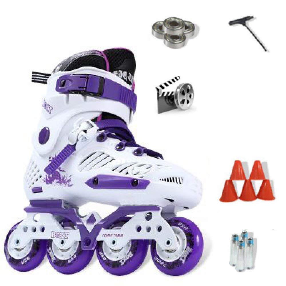 ZYH 大人の子供のための単列ローラースケート男の子女の子初心者4輪トリプルロックメッシュ通気性ローラーブレードブーツ安全パッドヘルメット子供スケートセット (Color : Purple-38Yards-Set1)   B07R5L91ZY