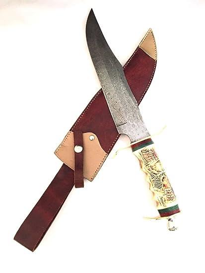 Amazon.com: Hecho a mano acero de Damasco cuchillo de caza ...