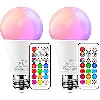 iLC Bombillas Colores RGBW LED Bombilla Regulable Cambio de Color 10W E27 Edison - RGB 12 Color - Control remoto…