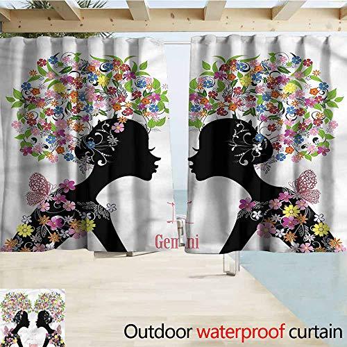 - MaryMunger Darkening Curtains Zodiac Gemini Floral Ladies Simple Stylish Waterproof W55x39L Inches