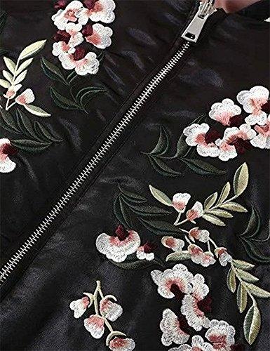 Biker Patchwork Baseball Jacket QINGFANG Embroidery Black Velvet Flower Fashion Women's Bomber Reversible ga0vgY
