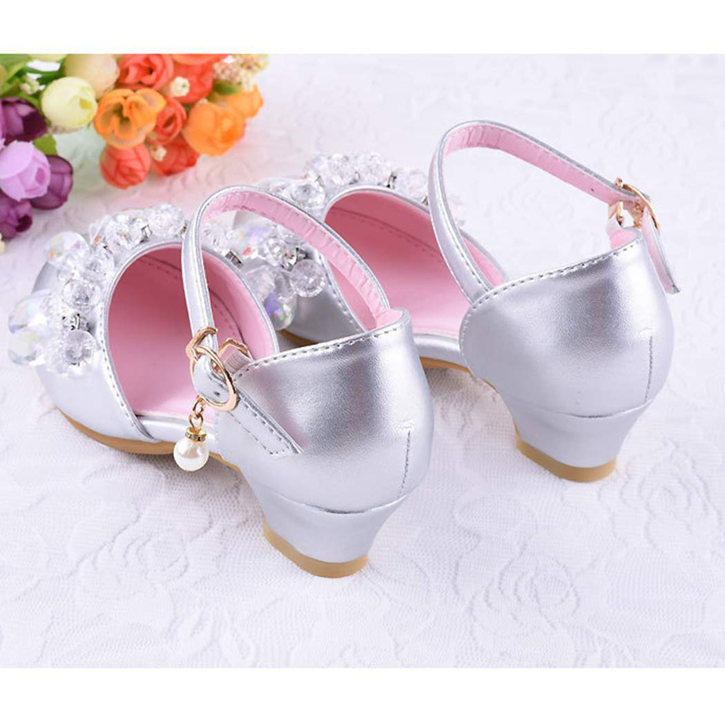 Baby Girls Glitter Crystal Mary Janes Shoes Low Heels for Bridesmaids Princess Party