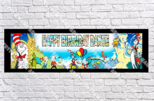 Personalized Dr. Seuss Banner - Includes Color Border Mat, With Your Name On It, Party Door Poster, Room Art Decoration - -