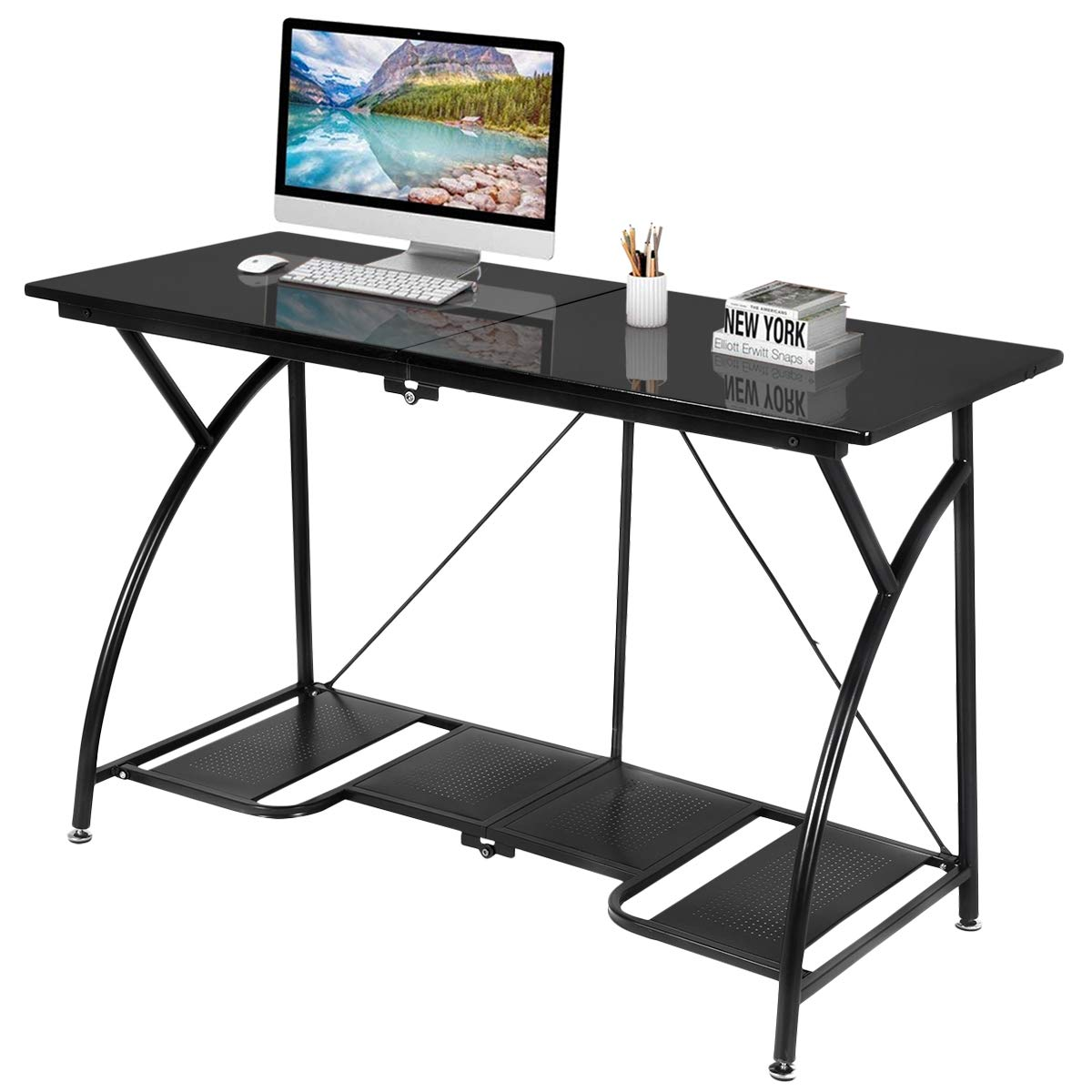 Tangkula Folding Desk, Foldable Computer Desk, Heavy Duty Home Office Desk,  Space Saving Computer Desk, Spacious Laptop Workstation, Simple Compact  Study ...