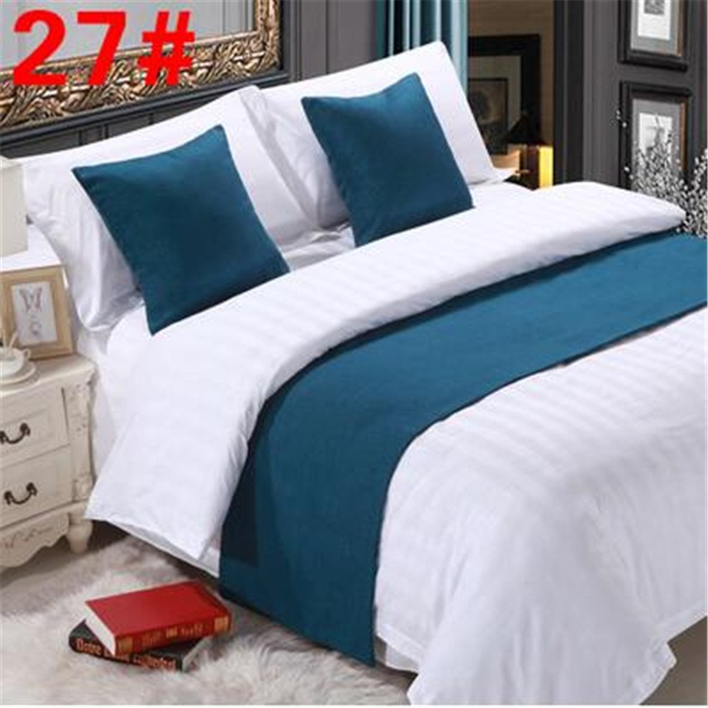 YIH Bed Runner Teal 3 Pcs Set, Luxury Bedding Scarf Pad Decorative Table Runner Bed Protector Slip Cover for Pets, 1 Bed Runner + 2 Cushion Cover, 94 Inches By 19 Inches