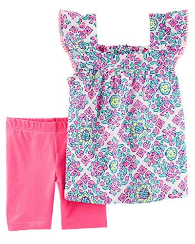 Carter's Girls' 2T-5T 2 Piece Medallion Print Top and Tumbling Shorts Set 4T (Medallion Stretch)