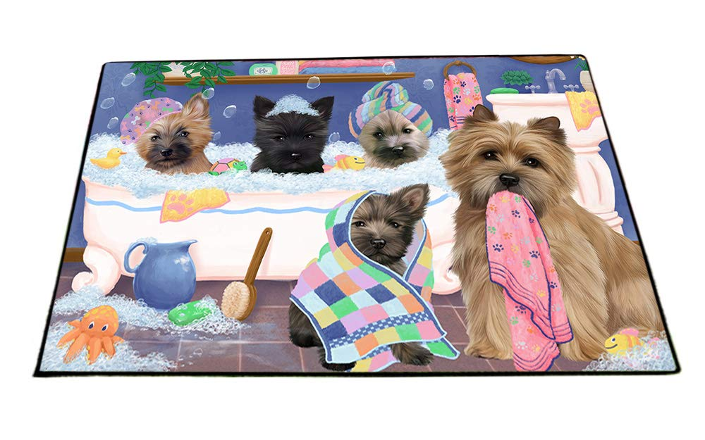Rub A Dub Dogs In A Tub Cairn Terriers Dog Floormat FLMS53514 (24x36) by Doggie of the Day