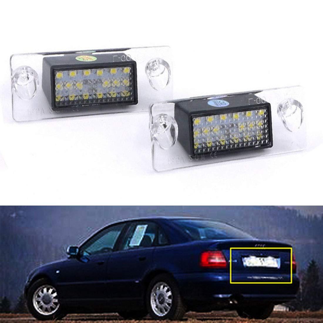 Canbus sans Erreur Blanc 6000K 18SMD LED Lumi/ère pour A4 B5 S5 B5 A3 S3 Sportback A4 S4 Avant VIGORFLYRUN PARTS LTD 2Pcs LED Lumi/ère de Plaque dimmatriculation