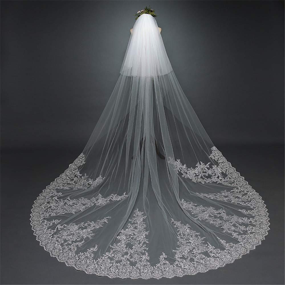 Simple Elegent Lace Wedding Bridal Veil Women's 2T Floral Appliques Lace Chapel Long Wedding Veil with Comb for Women Ladys