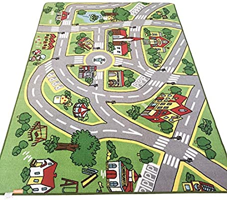 HUAHOO Kids' Rug with Roads Kids Rug Play mat City Street Map Children on tile map, food map, wallpaper map, metal map, klondike map, alaska map, canvas map, labyrinth map, clock map, pyramid map, home map, water map, glass map, construction map, floor map, frame map, penguin map, bed map, strategy map, concrete map,