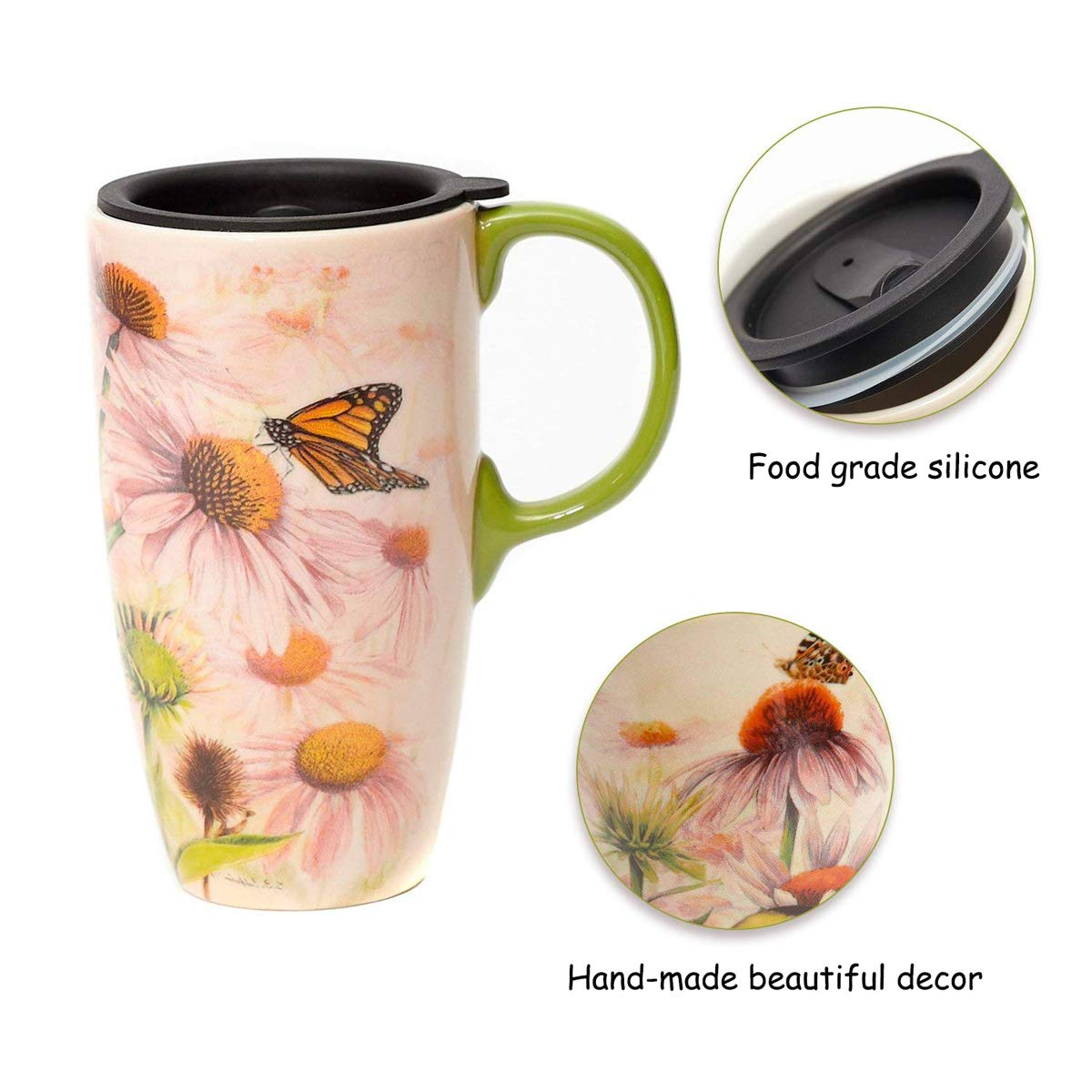 Topadorn Coffee Ceramic Mug Porcelain Latte Tea Cup With Lid 17oz Butterflies over Flowers