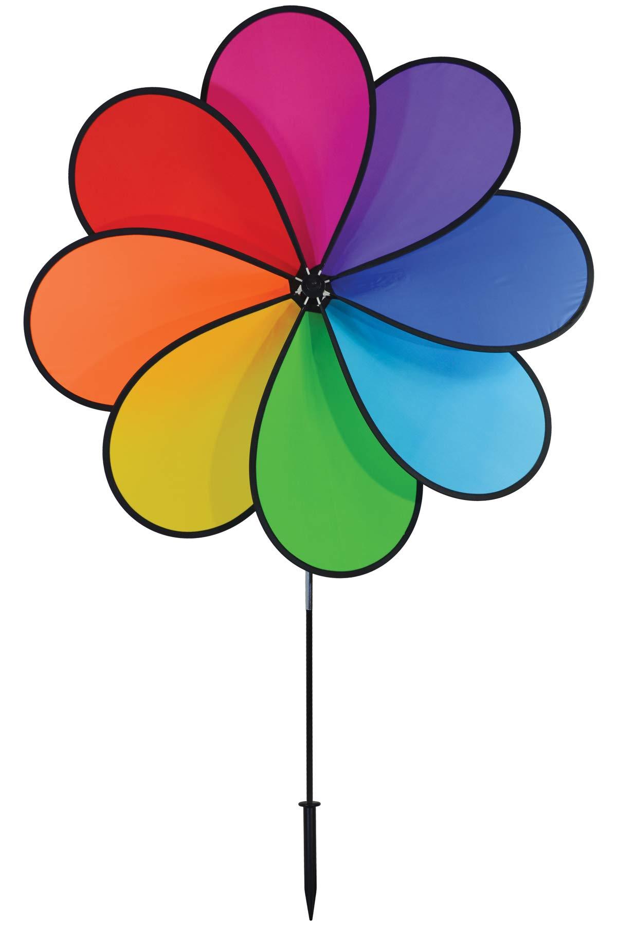 In the Breeze 2698 8-Petal Rainbow Flower Wind Spinner, 41-Inch