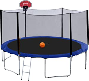 Exacme 14 Foot Trampoline with Safety Enclosure Net, Basketball Hoop, Heavy Duty Outdoor Backyard Round Trampoline for Kids, S-Series