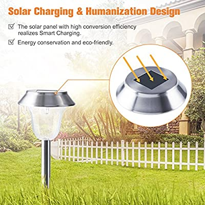 Outdoor Solar Pathway Lights for Garden Path Walkway Landscape LED Auto On/Off Operation Waterproof Stainless Steel Anti-Corrosion Firm Design 6 Packs for Yard/Patio/Lawn