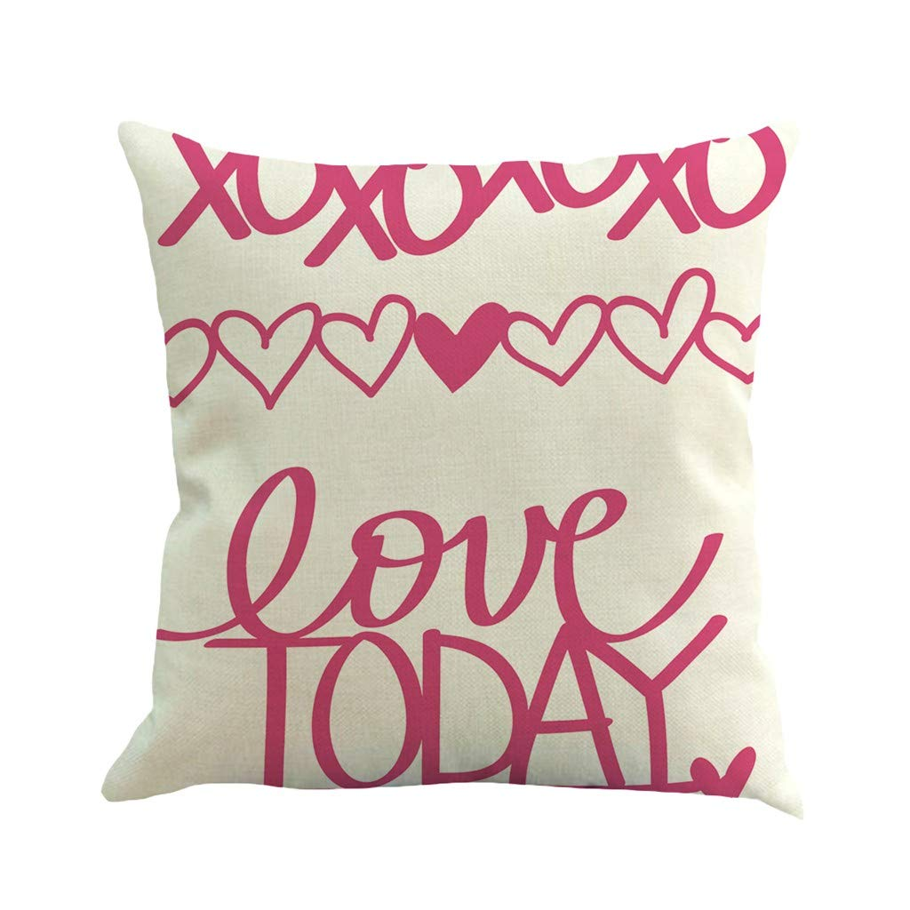 Mome Square Cushion Cover Valentine's Day Polyester Throw Cushion Cover Sweet Love Printed for Home Sofa Couch, Chair Back Seat,1pc 18x18 in Mulitcolor (B)
