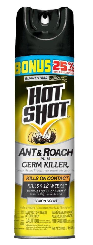 Hot Shot Ant & Roach Plus Germ Killer, Lemon Scent Aerosol, 17.5-Ounce
