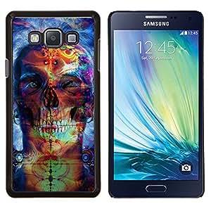 KLONGSHOP // Cubierta de piel con cierre a presión Shell trasero duro de goma Protección Caso - Psychedelic Neon Skull - Samsung Galaxy A7 A7000 //