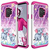 Hard Case for Galaxy S9 Samsung,QFFUN Soft Silicone Hard Plastic Back Hybrid Double Layer 2 in 1 Bling Crystal Diamonds Anti-Scratch Protective Cover with Screen Protector - Elephant