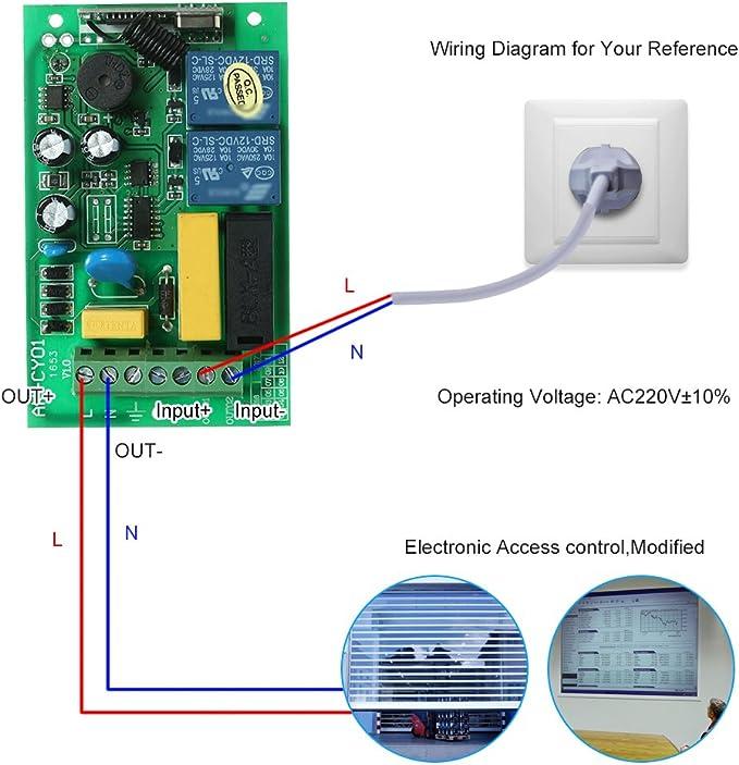 Port/ée 100M Blusea Interrupteur Telecommande sans Fil pour /Écran de Projection Porte de Garage Rideau /Électrique AC220V 2CH 433MHz Interrupteur Volet Roulant WiFi