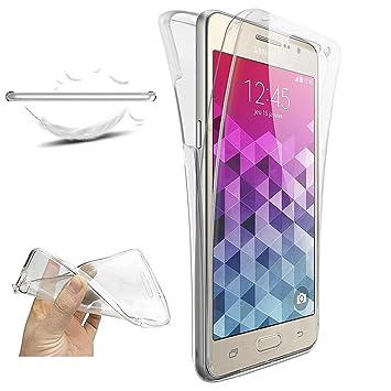 XCYYOO Funda para Samsung Galaxy Grand Prime SM G530 Silicona Carcasas, [360 Grados Full Body] Transparente Suave Ultrafina Gel Silicona TPU Choque ...