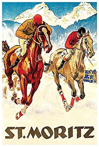St. Moritz Poster, Switzerland, Swiss Alps, Vintage Travel Poster