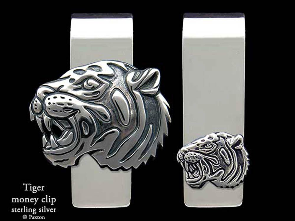 Tiger Head Money Clip in Solid Sterling Silver Hand Carved, Cast & Fabricated by Paxton