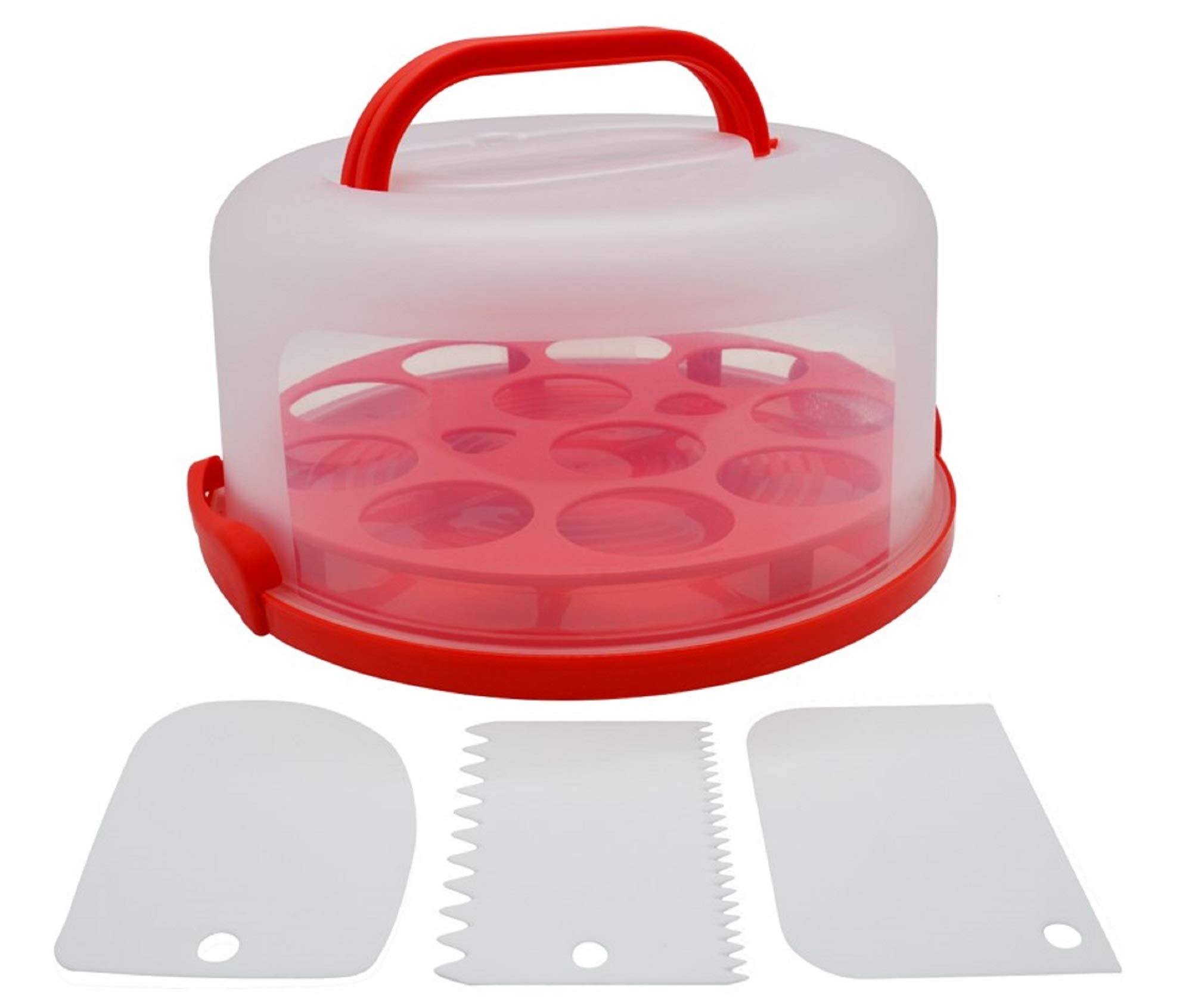Cynergee Round Portable Cake, Pie, Cupcake, Muffin Carrier with Locking Lid and Collapsible Handles, Includes 3 Piece Cake Scraper and Icing Smoother Set, Red by Cynergee