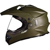 Steelbird Off Road TURF Motocross Helmet Men (Large 600 MM, Matt Battle Green Aerodynamic Helmet for Man Adventure Off-Roading MT Helmet)