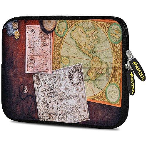 amzer-775-inch-designer-neoprene-sleeve-case-cover-for-tablet-ebook-netbook-antique-map-amz5190077