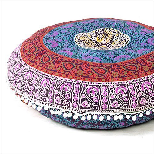 Aakarshan 32'' Mandala Floor Pillow Cushion Seating Throw Cover Hippie Decorative (Pink Multi)