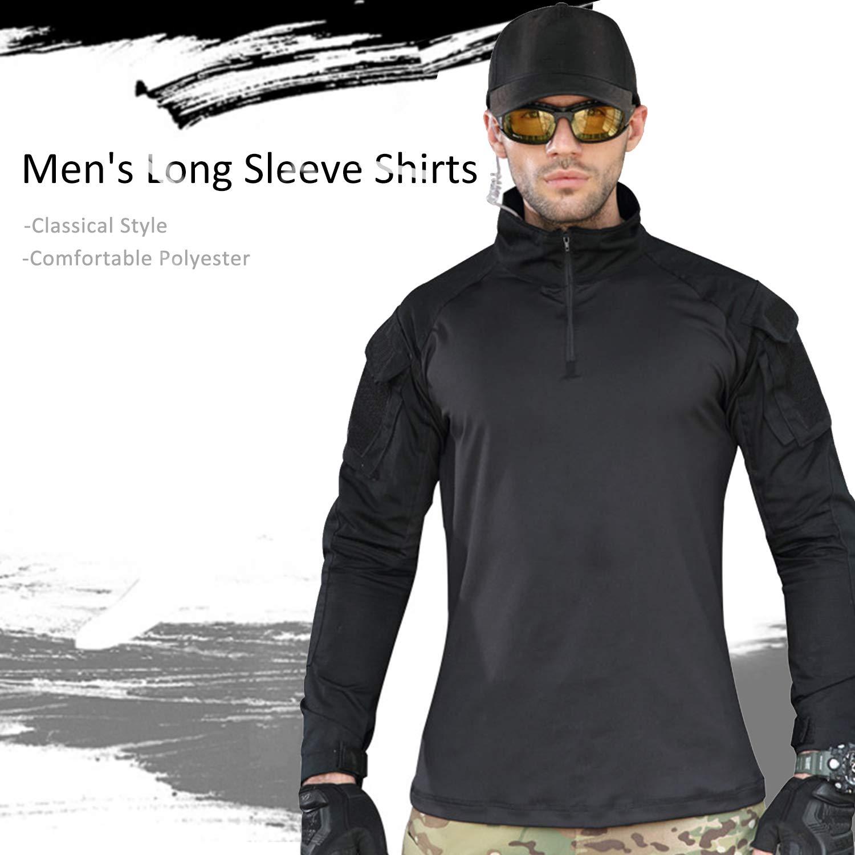 7VSTOHS Camisas de Manga Larga para Hombre Caza de Deportes al Aire Libre  Senderismo tiros Camisetas 05e2f53ac5813