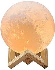 Redlemon Lámpara de Luna en Impresión 3D Réplica Exacta de la Superficie Lunar 2 Colores de Luz LED Batería Recargable Base de Madera Portátil. GRANDE (18 cm)
