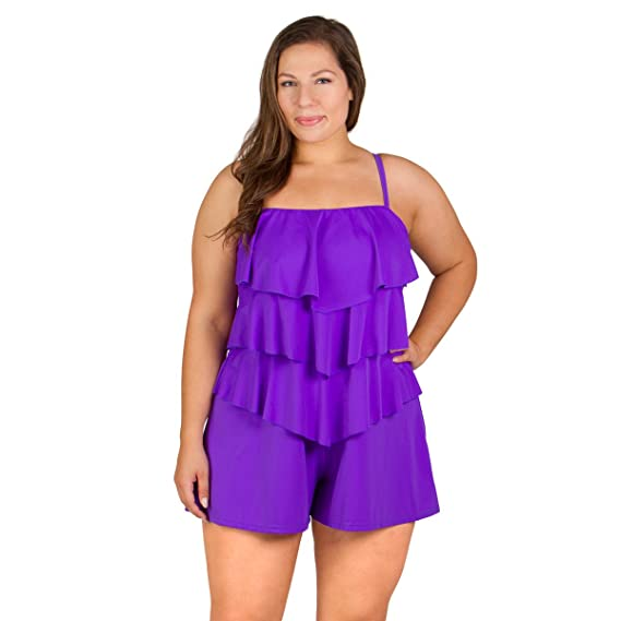 79b2498b8f6 Fit 4U Plus Size Romper Bandeau Swimsuit - Lavender  Amazon.in ...